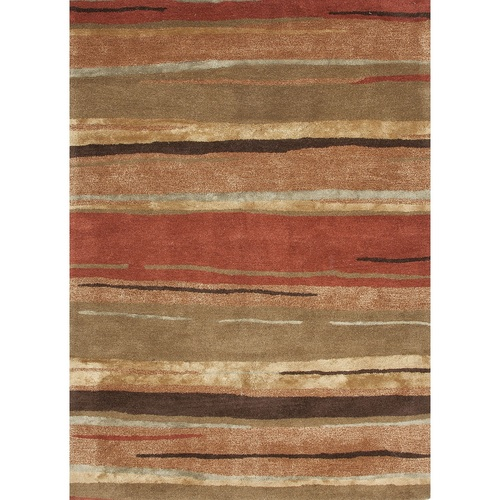 9.5' x 13.5' Brown and Orange Hand Tufted Wool Area Throw Rug - IMAGE 1