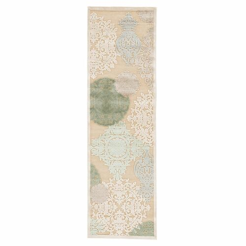 2.5' x 8' Beige and Frosted Green Transitional Area Throw Rug Runner - IMAGE 1