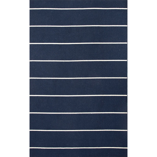 7.8' x 9.8' Navy Blue and Ivory Cape Cod Flat Weave Wool Area Throw Rug - IMAGE 1