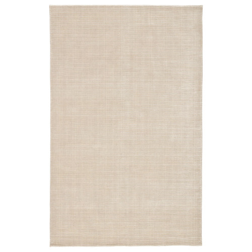 9' x 12' Beige and White Transitional Hand Loomed Rectangular Area Throw Rug - IMAGE 1