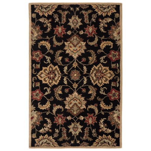4' x 8' Black and Brown Traditional Hand Tufted Wool Area Throw Rug - IMAGE 1