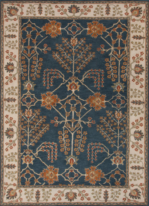 5' x 8' Orange and Blue Traditional Hand Tufted Rectangular Wool Area Throw Rug - IMAGE 1