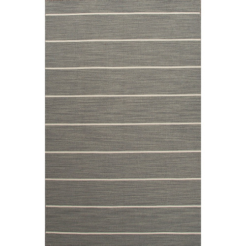 5' x 8' Gray and White Contemporary Handcrafted Rectangular Wool Area Throw Rug - IMAGE 1