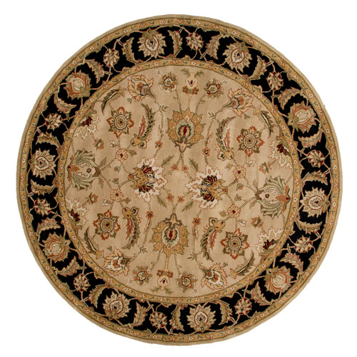 8' Taupe Brown and Black Round Hand Tufted Wool Area Throw Rug - IMAGE 1