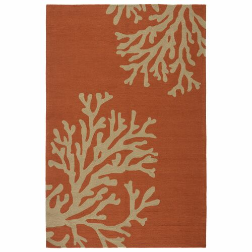 3.5' x 5.5' Orange and Coral White Bough Out Outdoor Area Throw Rug - IMAGE 1