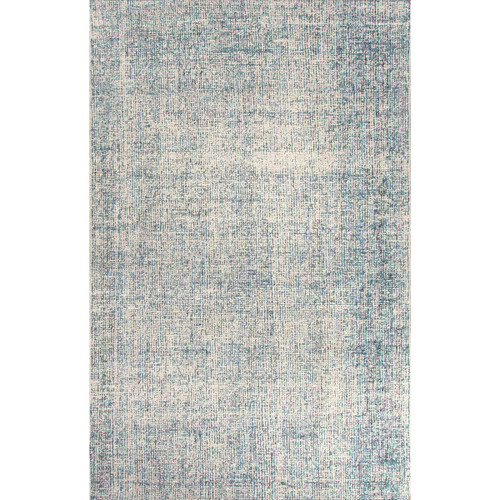 5' x 8' Gray and Teal Solid Hand Tufted Rectangular Wool Area Throw Rug - IMAGE 1