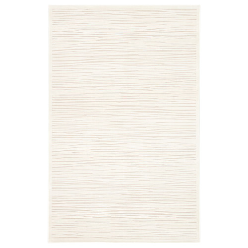 5' x 7.5' Ivory and White Contemporary Striped Rectangular Area Throw Rug - IMAGE 1