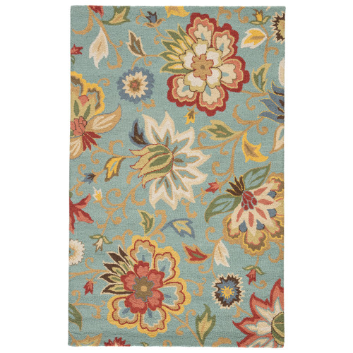 2' x 3' Powder Blue, Ivory and Auburn Transitional Zamora Hand Tufted Area Throw Rug - IMAGE 1