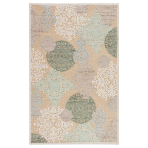 7.5' x 9.5' Green and Gray Transitional Wistful Rectangular Area Throw Rug - IMAGE 1