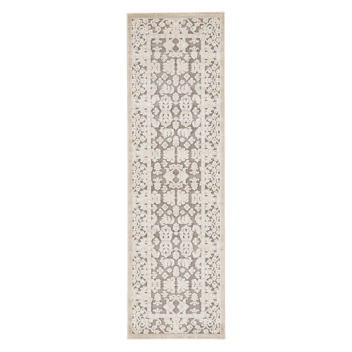 2.5' x 8' Gray and Ivory Transitional Area Throw Rug Runner - IMAGE 1