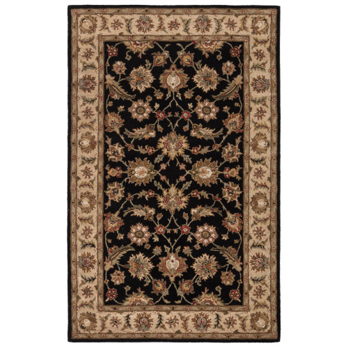 8' x 10'  Midnight Black and Sandstone Brown Selene Classic Hand Tufted Wool Area Throw Rug - IMAGE 1