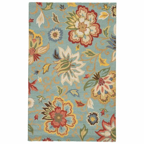3.5' x 5.5' Powder Blue, Ivory and Auburn Transitional Zamora Hand Tufted Area Throw Rug - IMAGE 1