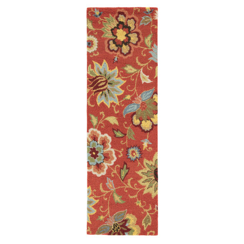 2.5' x 8' Terracotta Red and Yellow Summer Floral Zamora Hand Tufted Wool Area Throw Rug Runner - IMAGE 1