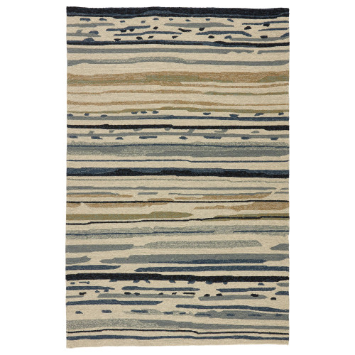 5' x 7.5' Blue and Gray Sketchy Lines Outdoor Area Throw Rug - IMAGE 1