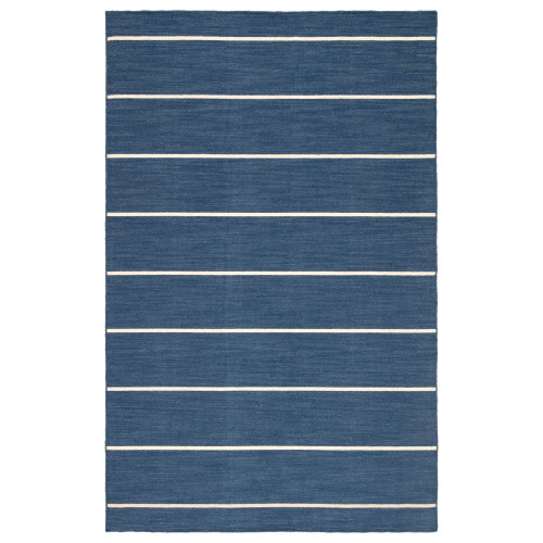 7.8' x 9.8' Sapphire Blue and Ivory Striped Cape Cod Flat Weave Area Throw Rug - IMAGE 1