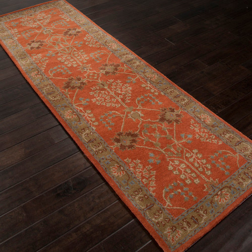 2.5' x 8' Orange and Brown Traditional Hand Tufted Rectangular Wool Area Throw Rug Runner - IMAGE 1