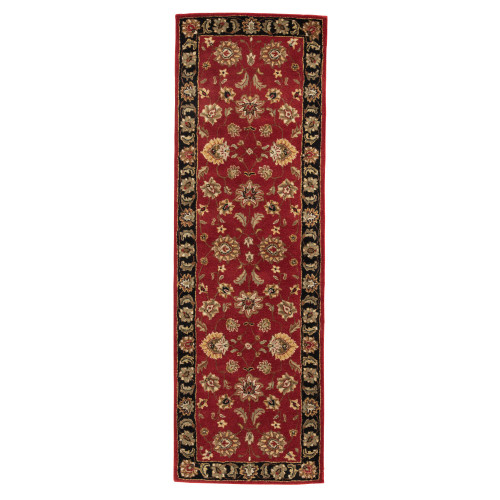 2.5' x 8' Red and Black Floral Hand Tufted Wool Area Throw Rug Runner - IMAGE 1