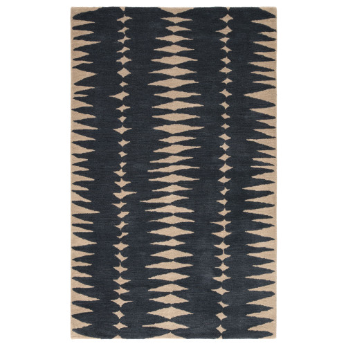 5' x 8'  Midnight Blue and Beige Geometric Hand Tufted Wool Area Throw Rug - IMAGE 1