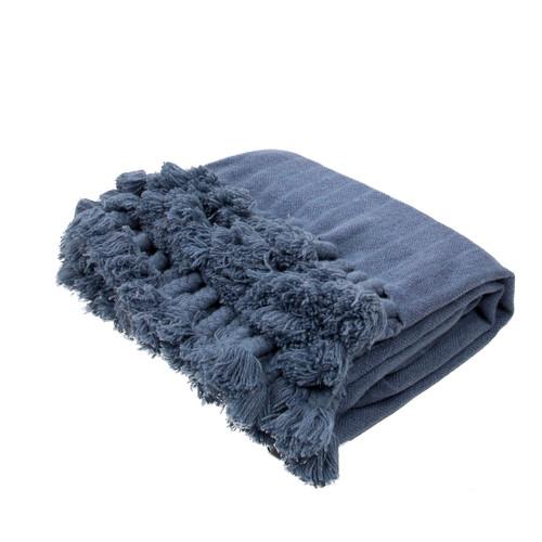 "Slate Blue Braided Tasseled Wool Throw Blanket 50"" x 60"" - IMAGE 1"