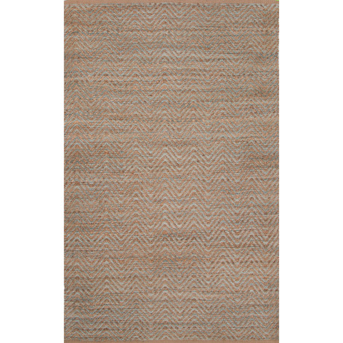 5' x 8' Turquoise and Nutmeg Naturals Reap Solid Design Jute and Rayon Area Throw Rug - IMAGE 1