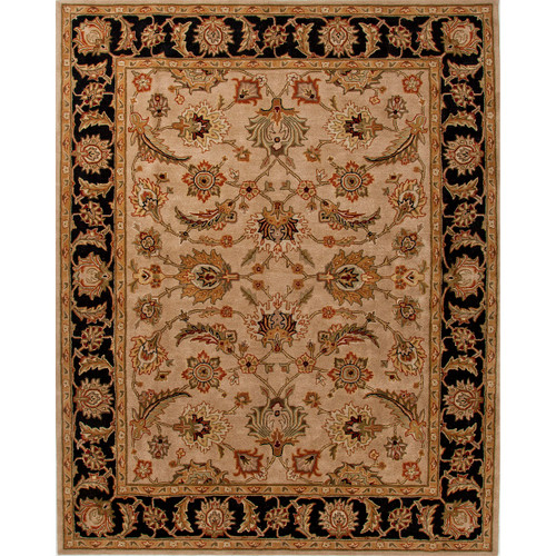 4' x 6' Taupe Brown and Black Hand Tufted Wool Area Throw Rug - IMAGE 1