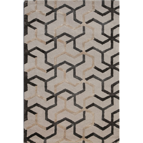 9' x 12' Gray and Ivory Contemporary Hand Tufted Rectangular Wool Area Throw Rug - IMAGE 1