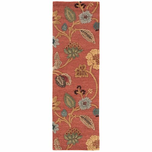 2.5' x 8' Red and Yellow Traditional Garden Party Hand Tufted Rectangular Area Throw Rug Runner - IMAGE 1
