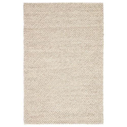 2' x 3' Ivory and Gray Contemporary Wool Area Throw Rug - IMAGE 1