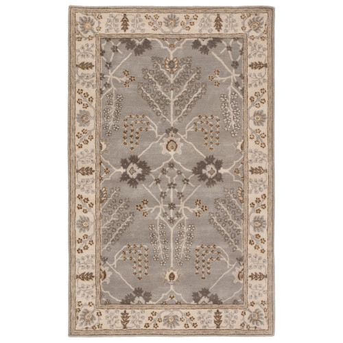 5' x 8' Ash gray and Wheat Brown Hand Tufted Wool Area Throw Rug - IMAGE 1