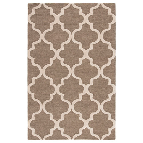 9.5' x 13.5' Cocoa Brown and Ivory Modern Miami Hand Tufted Wool Area Throw Rug - IMAGE 1
