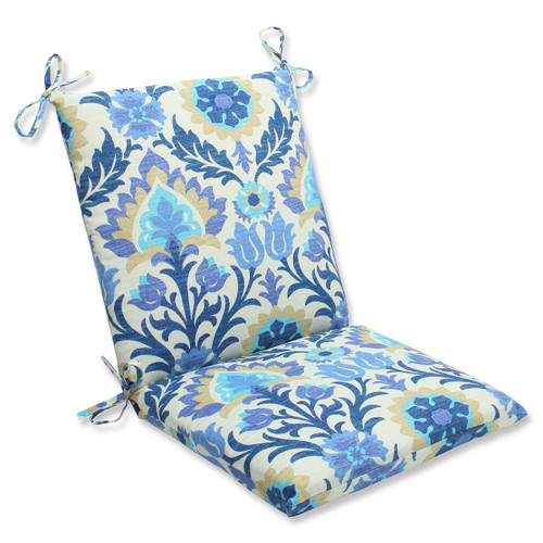 """36.5"""" Blue and White Damask Outdoor Patio Squared Chair Cushion - IMAGE 1"""