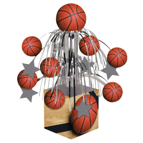 """Pack of 6 Silver and Red Sports Basketball Mini Cascade Centerpiece Party Decors 8.5"""" - IMAGE 1"""