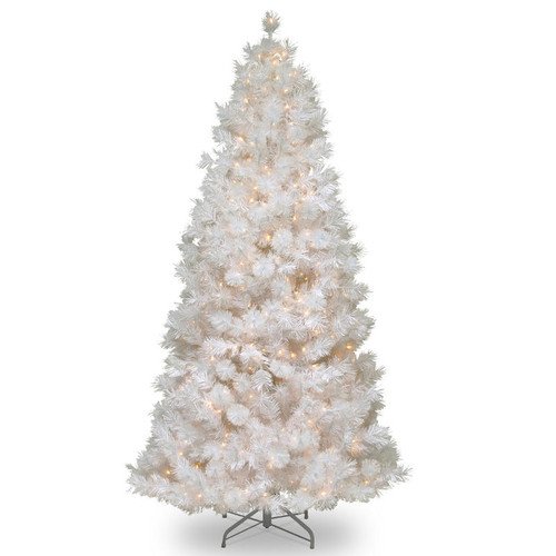 7.5 ft. Wispy Willow Grande White Slim Tree with Clear Lights - IMAGE 1