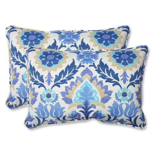 """Set of 2 Blue and White Damask Outdoor Corded Throw Pillows 24.5"""" - IMAGE 1"""