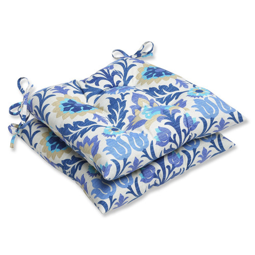 """Set of 2 Blue and White Dream Garden Patio Chair Cushions 19"""" - IMAGE 1"""