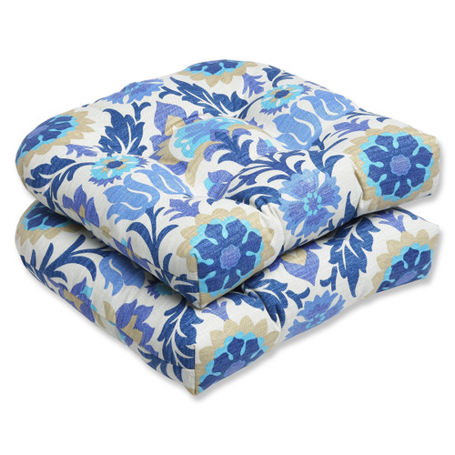 """Set of 2 Blue and White Dream Garden Patio Wicker Seat Cushions 19"""" - IMAGE 1"""