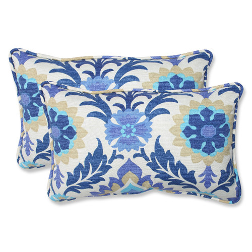 """Set of 2 Blue and White Damask Outdoor Corded Throw Pillows 18.5"""" - IMAGE 1"""