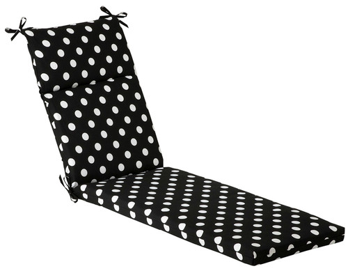 """72.5"""" Black and White Polka Dot Outdoor Patio Furniture Chaise Lounge Cushion - IMAGE 1"""