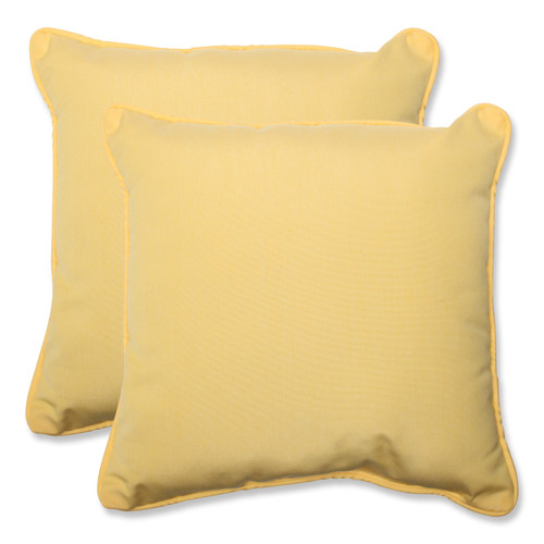 """Set of 2 Yellow Solid Outdoor Corded Square Throw Pillows 18.5"""" - IMAGE 1"""