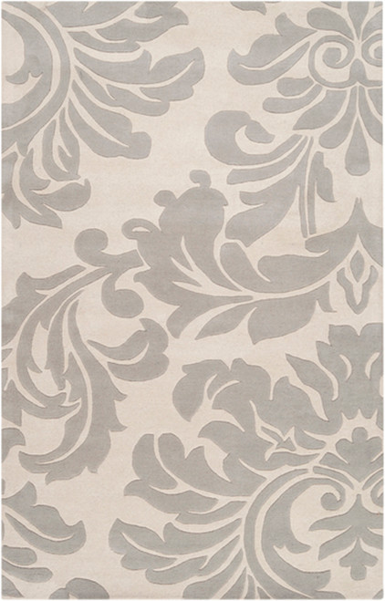 12' x 15' Falling Leaves Damask Gray and White Wool Area Throw Rug - IMAGE 1
