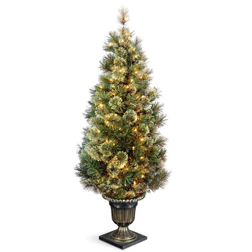 5' Pre-lit Potted Wispy Willow Grande Entrance Artificial Christmas Tree – Clear Lights - IMAGE 1