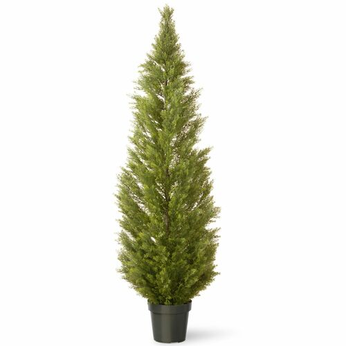 """72"""" Green Potted Artificial Arborvitae Topiary Tree - IMAGE 1"""