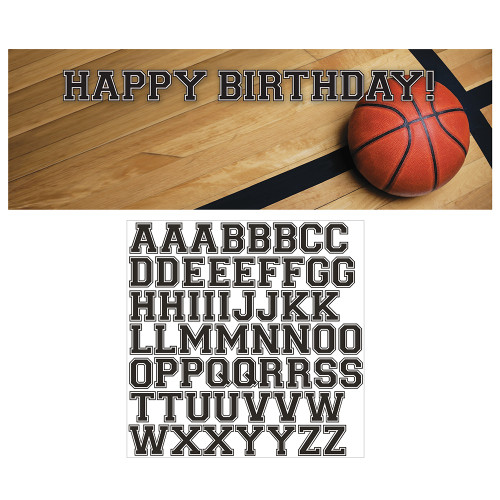 "Pack of 6 Brown Basketball Giant Birthday Party Banners 60"" - IMAGE 1"