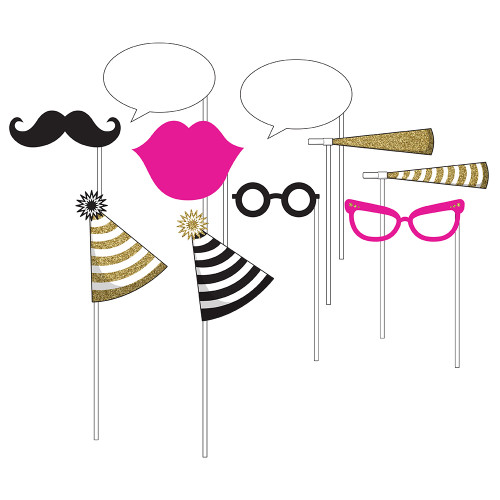 """Club Pack of 60 Pink and Gold Birthday Fun Photo Prop 10"""" - IMAGE 1"""