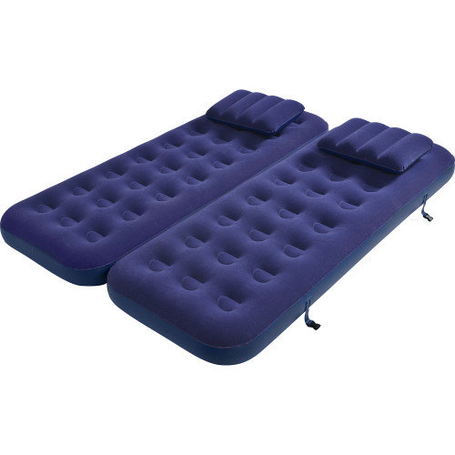 6.25' Navy Blue 3 in 1 Inflatable Flocked Air Mattress with Pillows - IMAGE 1