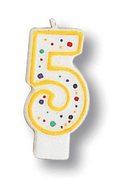 """Club pack of 12 White Polka Dot Numeral 5 With Yellow Trim 3"""" - IMAGE 1"""