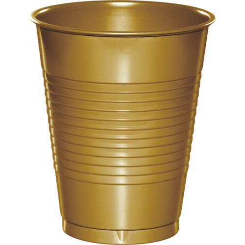 Club Pack of 240 Glittering Gold Round Disposable Drinking Party Tumbler Cups 16 oz. - IMAGE 1