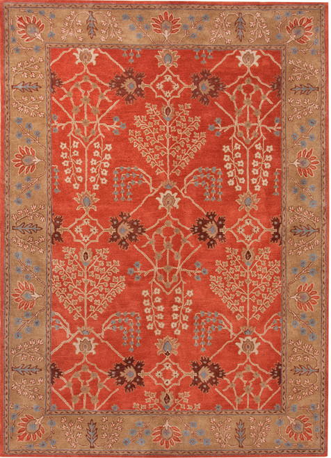 9.5' x 13.5' Burnt Orange and Mocha Brown Arts And Crafts Pattern Hand-Tufted Wool Area Throw Rug - IMAGE 1