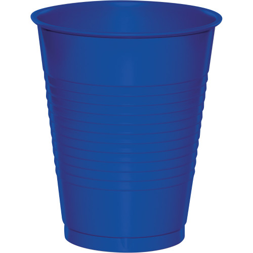 Club Pack of 240 Cobalt Blue Disposable Drinking Party Cups 16 oz. - IMAGE 1