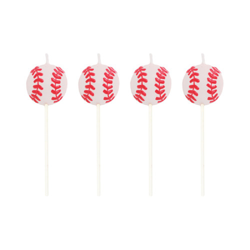 """Pack of 48 Pink and Red Baseball Themed Candle Desert Topper Pick Set 3"""" - IMAGE 1"""